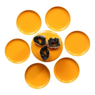 Yellow & Black Lacquered Coasters - Set of 6