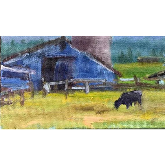"""Petaluma Blue Barn & Cow"" Painting - Image 8 of 11"