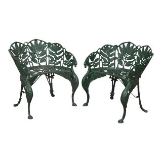 Antique Laurel Pattern Cast Iron Garden Benches-after Coalbrookdale - a Pair