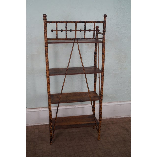 Antique 19th Century Bamboo Frame Open Bookcase - Image 4 of 5
