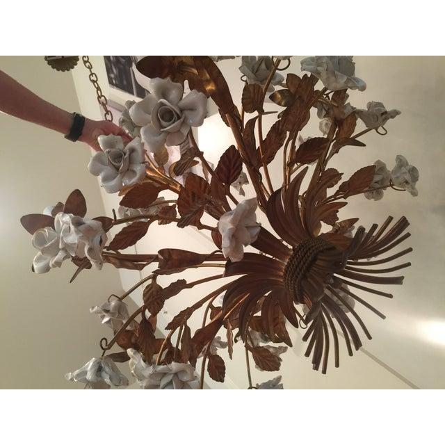 Vintage 1960s Italian Porcelain Flowers Chandelier - Image 5 of 6