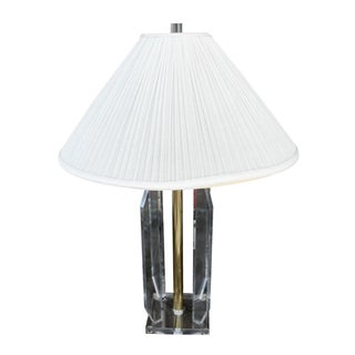 Vintage Lucite & Brass Table Lamp