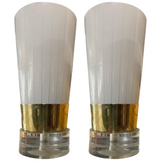 Brass, Lucite & Frosted Glass Little Table Lamps - A Pair