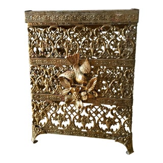 Mid Century Ormolu Brass Filigree Tissue Box