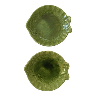 French Green Fish Plates - A Pair