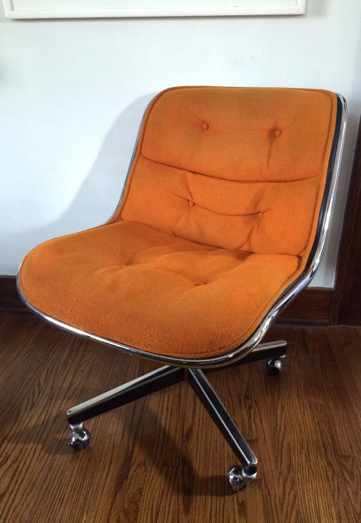 Charles Pollock for Knoll Orange Wool Office ChairChairish