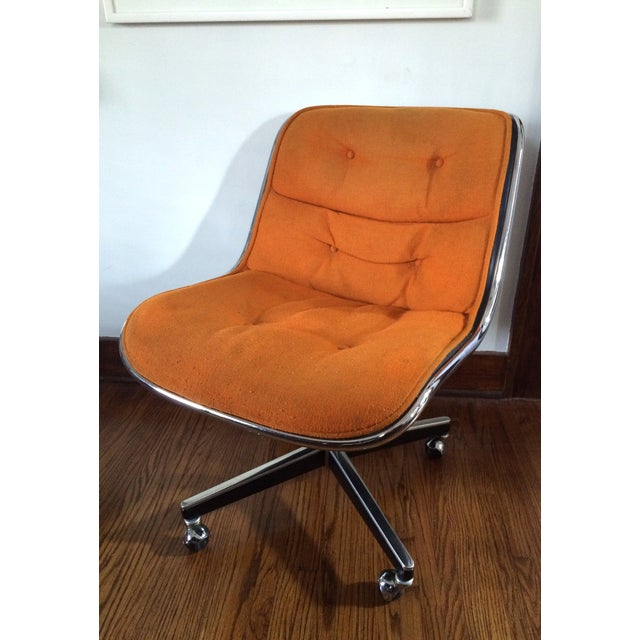 Charles Pollock for Knoll Orange Wool Office Chair - Image 2 of 4
