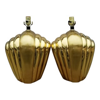 Hollywood Regency Brass Gold Geometric Table Lamps - A Pair