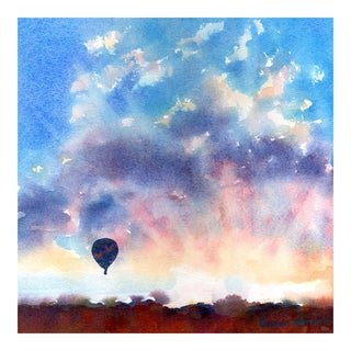 """Infatuated"" Hot Air Balloon Sunset Painting"