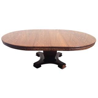 Antique Round Oak Dining Table, Circa 1900