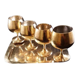 Brass Wine Glasses with Tray - Set of 5