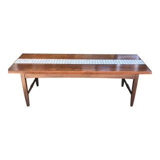Mid-Century Walnut & Tile Coffee Table