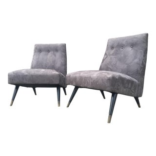 Mid-Century Suede Slipper Chairs - A Pair