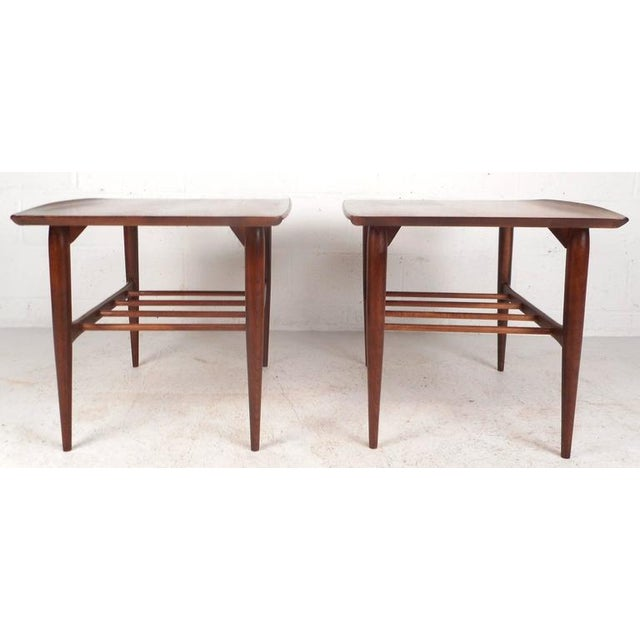 Mid Century Modern Walnut End Tables By Basset Furniture Company