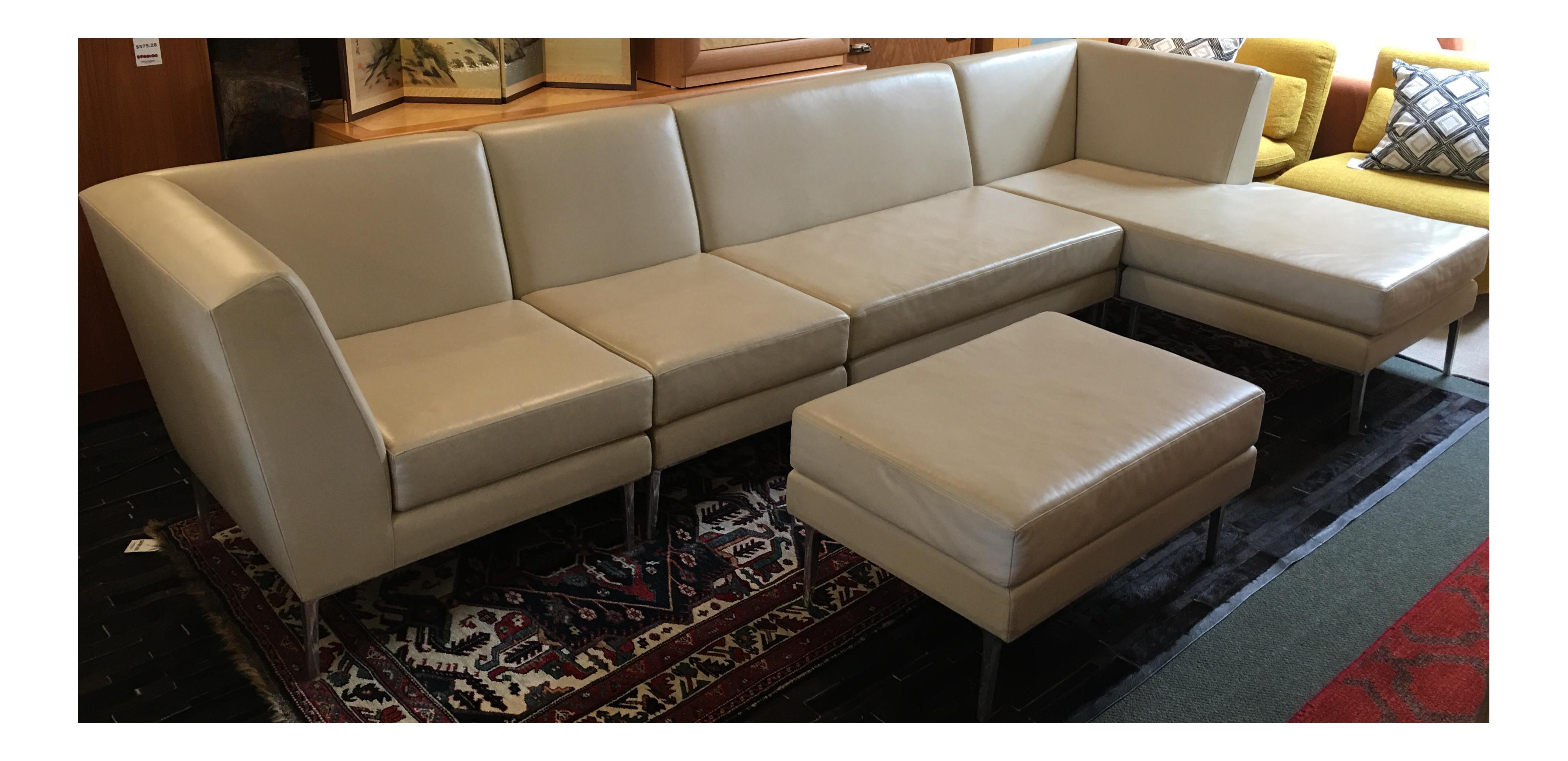 Custom Galerkin Ivory Leather Sectional Sofa