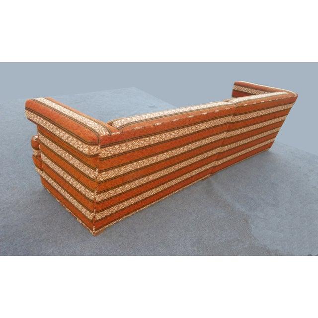 Image of Mid-Century Modern Orange Stripped Sofa