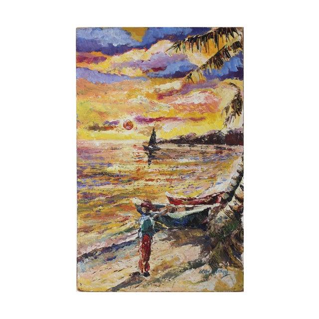 Errol Allen 1986 Jamaican Coastal Scene Painting - Image 1 of 5