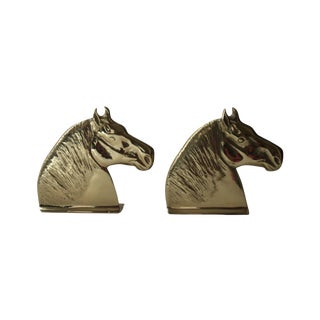 Brass Horse Head Bookends - Pair