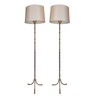 Vintage French Maison Bagues Floor Lamps - Pair
