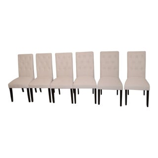 Beige Linen Tufted Dining Chairs - Set of 6