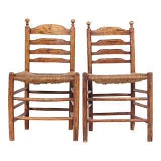 Antique French Country Rush Chairs - A Pair