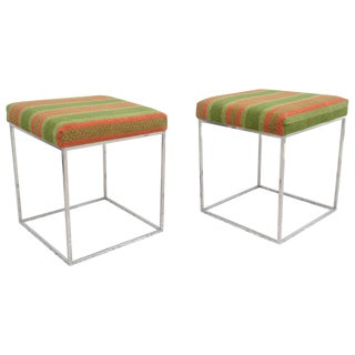 "Pair of Mid-Century Polished Chrome ""Thin Line"" Stools, Milo Baughman, 1970s"
