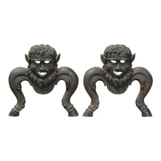 Cast Iron Character Andirons - A Pair