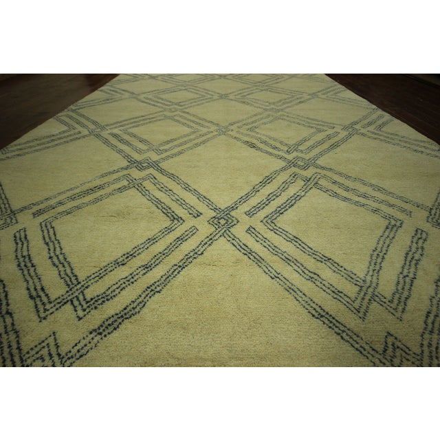 Diamond Moroccan Hand Knotted Rug - 10' x 13' - Image 6 of 10