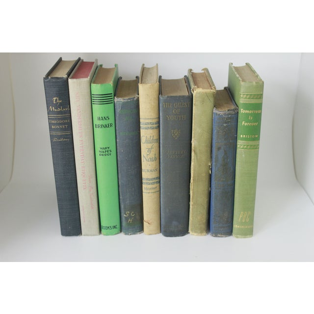 Image of Vintage Decorative Green and Blue Books - Set of 9
