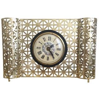 Vintage Mid-Century Modern Brass Clock