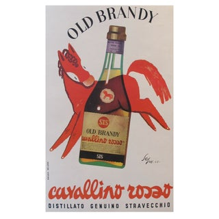 1953 Original Italian Poster Old Brandy