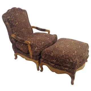 Baker Country French Lounge Chair & Ottoman