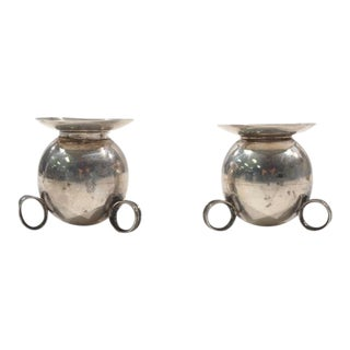 Mexican Sterling Silver Candle Holders - A Pair