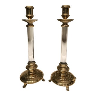 Brass and Lucite Candle Holders