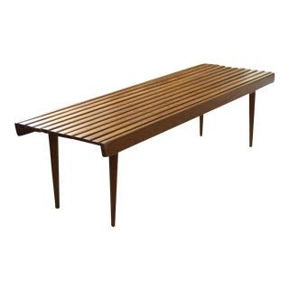 Mid-Century Wood Slat Bench