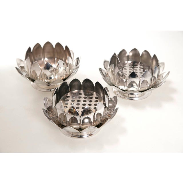 Mid-Century Silver Lotus Flower Holders by Reed and Barton - Image 4 of 8