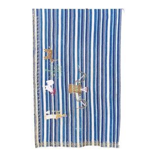 Hand Embroidered Indigo Striped Textile