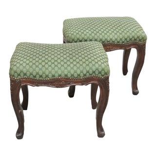 Louis XVI Style Upholstered Footstools - Pair