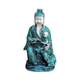 Chinese Old Man & a Baby Porcelain Figure Statue
