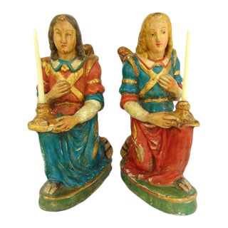 Vietri Italian Pottery Angel Candle Holders - A Pair