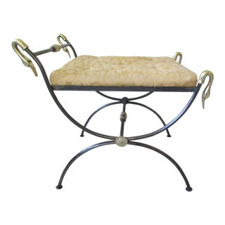 Neoclassical Savonarola Style Stool With Brass Swans