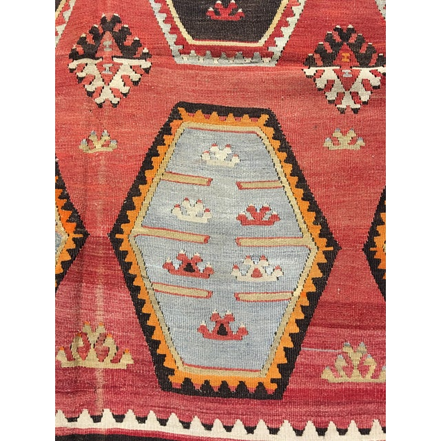 "Vintage Turkish Kilim Rug- 7'7"" x 11'7"" - Image 4 of 8"
