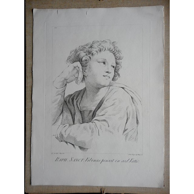 Large Portrait 18th C. Engraving After Raphael - Image 2 of 3