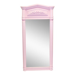 Mid-Century Pink Neoclassical Motif Wall Mirror