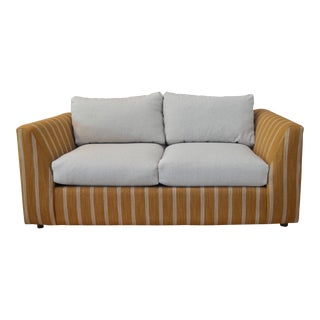 Custom Camel Striped Loveseat