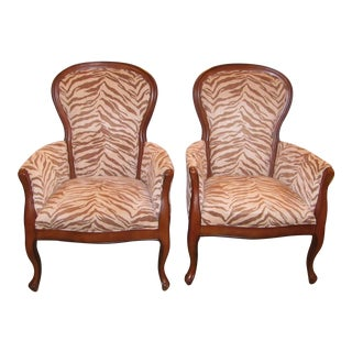 Upholstered Zebra Print Accent Chairs - A Chair