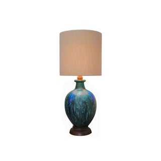 Large Blue Pottery Lamp
