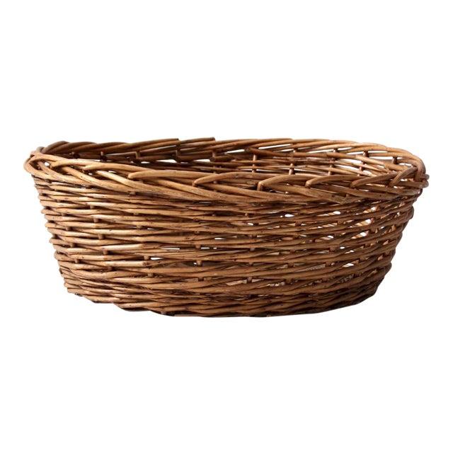 Vintage Oval Woven Reed Basket - Image 1 of 6
