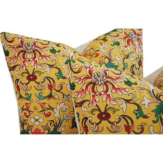 Custom Asian Yellow Floral Linen Pillows - A Pair - Image 5 of 7