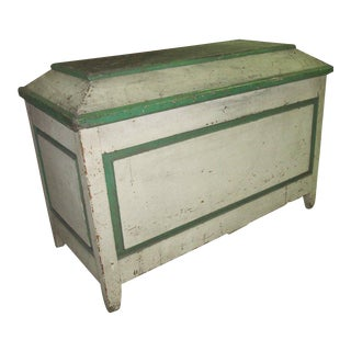 Handsome American Primative Blanket Chest With Wonderful Worn Painted Finish
